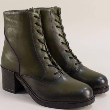 Зелени дамски боти естествена кожа на ток me200z