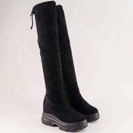 Дамски чизми на платформа в черен цвят me201vch