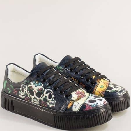 Черни спортни обувки на платформа me202chps2