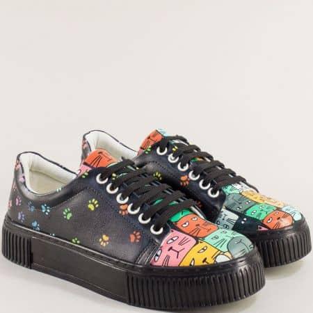 Дамски черни спортни обувки платформа me202chps3