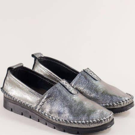 Бронзови дамски обувки от естествена кожа на равно ходило me255brz