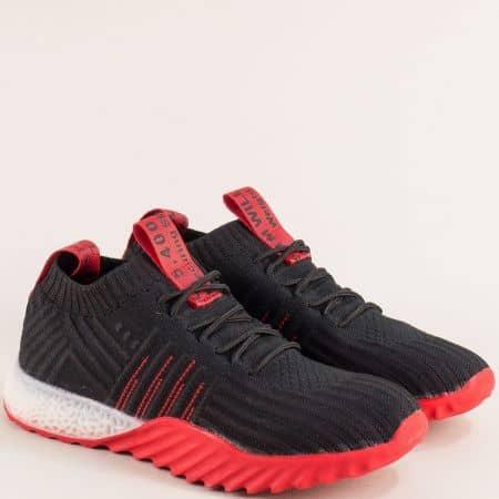 Дамски маратонки с връзки в червено и черно me70chchv