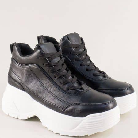 Дамски спортни обувки на висока платформа в черен цвят me8022ch