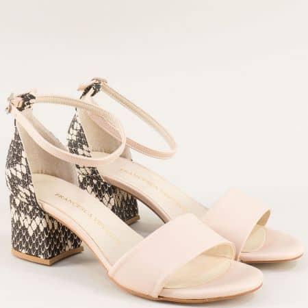 Дамски сандали в черно и бежово на среден ток me869bjps