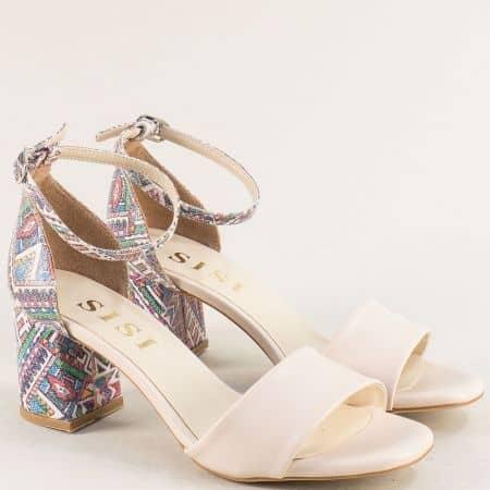 Бежови дамски сандали на висок ток с пъстър принт me869bjps1