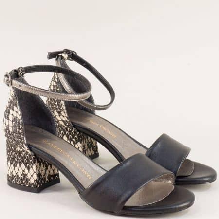 Черни дамски сандали със затворена пета на среден ток me869ch1