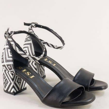 Дамски сандали със затворена пета в сиво и черно me869chps