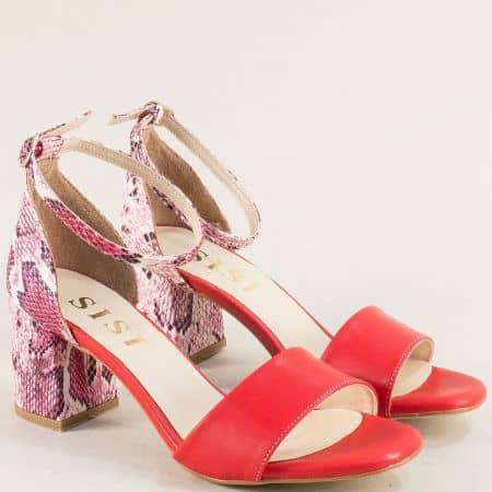 Червени дамски сандали на висок ток с пъстър принт me869chvps1