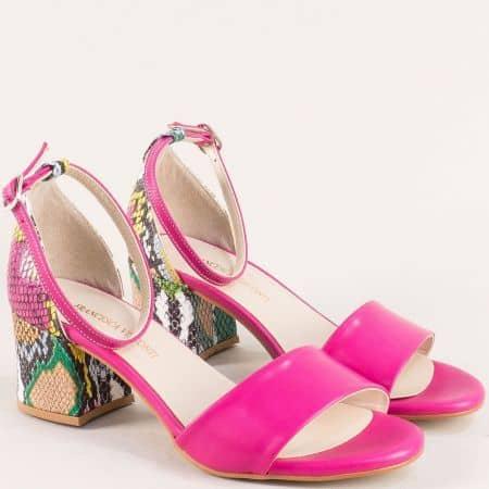 Цикламени дамски сандали на пъстър среден ток me869ckps