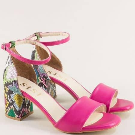 Цикламени дамски сандали на висок ток с пъстър принт me869ckps1