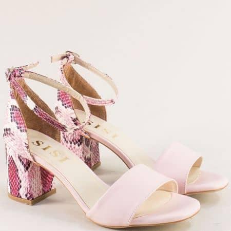 Розови дамски сандали на висок ток със змийски принт me869rzps