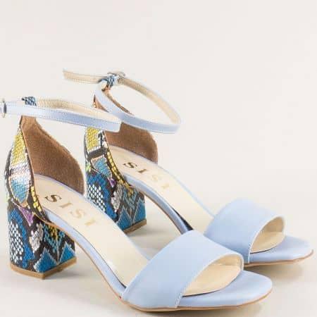 Светло сини дамски сандали на висок ток с пъстър принт me869sps