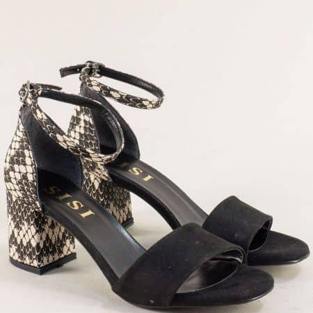 Дамски сандали със затворена пета в кафяво и черно me869vchps