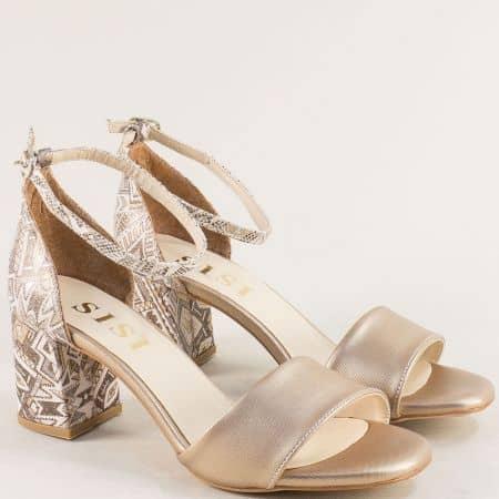 Златисти дамски сандали на висок ток с пъстър принт me869zlps