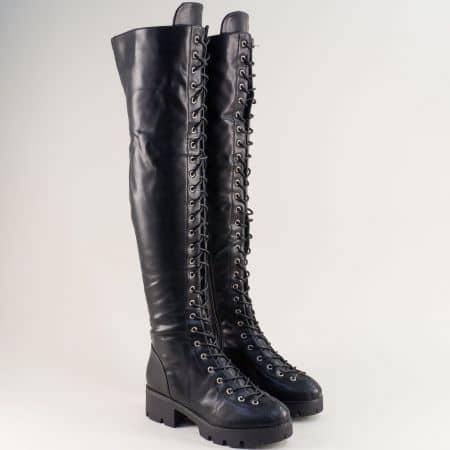 Черни дамски ботуши над коляното с връзки и цип me882ch
