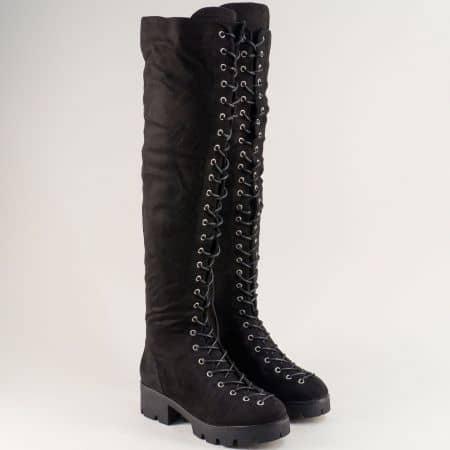 Дамски черни ботуши тип чизма на нисък ток с връзки me882nch