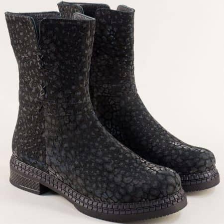 Класически дамски боти от естествена кожа в черно с леопардов принт me902tch