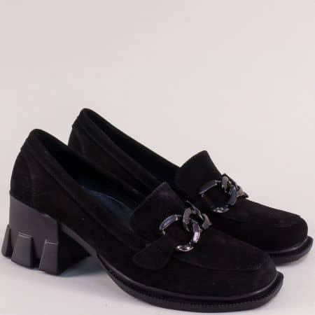 Черен велур дамски обувки SISI на ток  met07vch