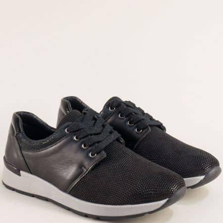 Черни дамски маратонки от естествен велур и кожа mila36ch