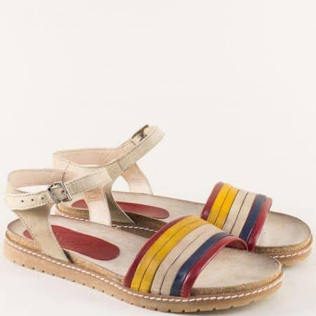 Равни дамски сандали в бежово, жълто, синьо и червено milano1bjps