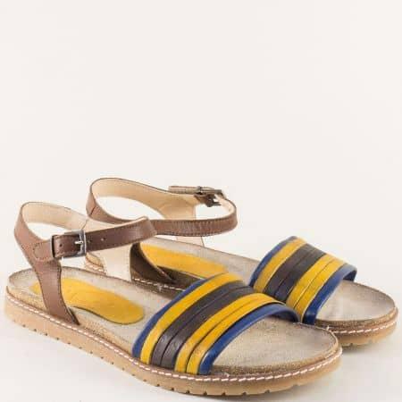 Анатомични дамски сандали в кафяво, жълто и синьо milano1kj