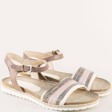 Кожени дамски сандали в бяло, розово и бежово milano1rz