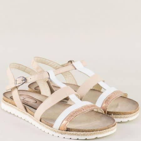 Дамски сандали от естествена кожа в бежово и бяло milano2bbj