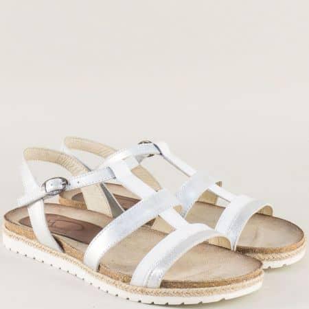 Анатомични дамски сандали в бяло и сребро milano2bsr
