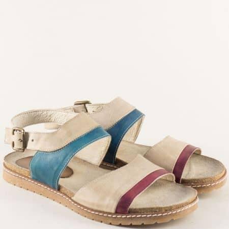 Анатомични дамски сандали в бежово, бордо и синьо milano3bj