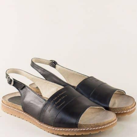 Равни дамски сандали в черен цвят с велурена стелка milano5ch