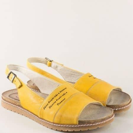 Кожени дамски сандали в жълт цвят с велурена стелка milano5j