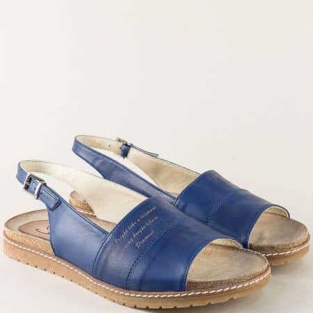 Сини дамски сандали от естествена кожа на равно ходило milano5s