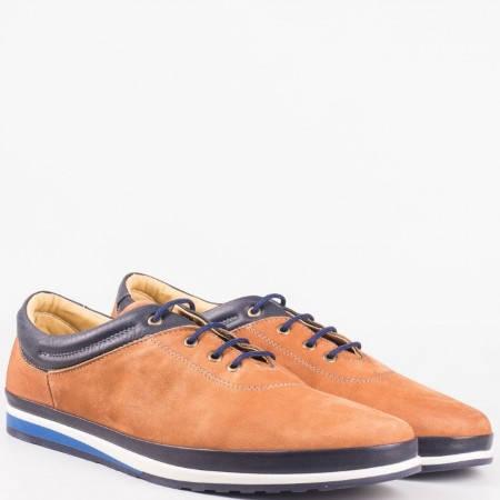 Кафяви мъжки обувки с връзки от естествена кожа и естествен набук  mm013nk