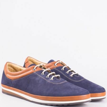 Мъжки ежедневни обувки с връзки от естествена кожа и естествен набук в син цвят mm013ns