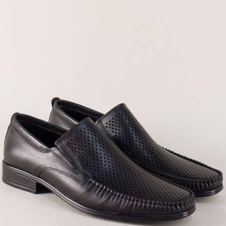 Черни мъжки обувки от перфорирана естествена кожа mm06ch