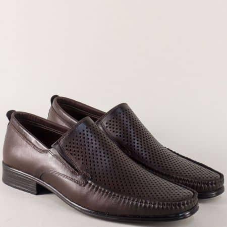 Кожени мъжки обувки с перфорация в тъмно кафяв цвят mm06kk
