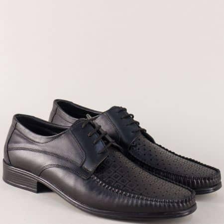 Перфорирани мъжки обувки с връзки в черен цвят mm07ch