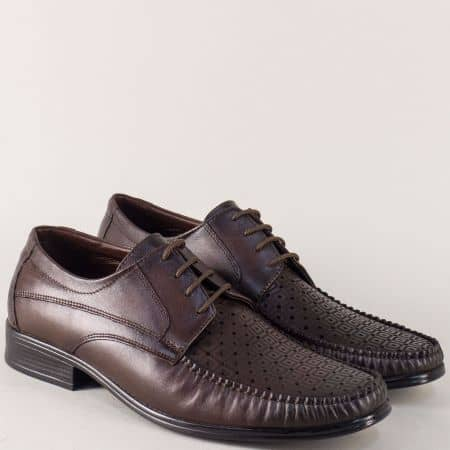 Равни мъжки обувки от тъмно кафява естествена кожа mm07kk