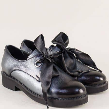 Кожени дамски обувки в сребристо на комфортен нисък ток mm096sv