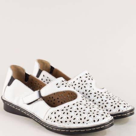 Бели дамски обувки от естествена кожа на равно ходило  mm100b