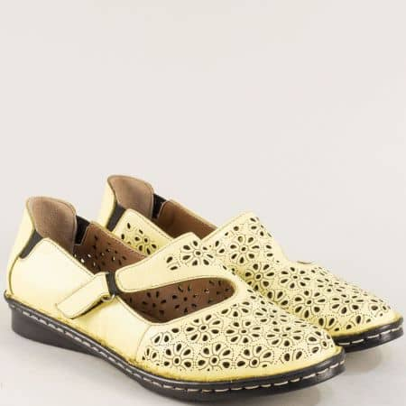 Перфорирани дамски обувки в жълто с кожена стелка mm100j