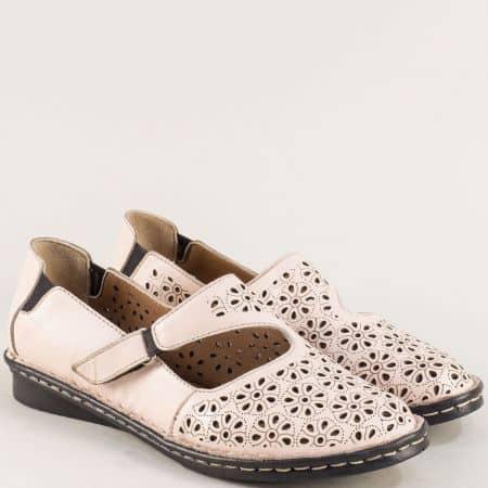 Розови дамски обувки от естествена кожа на шито ходило mm100rz