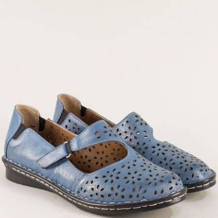 Сини дамски обувки с кожена стелка и перфорация mm100s