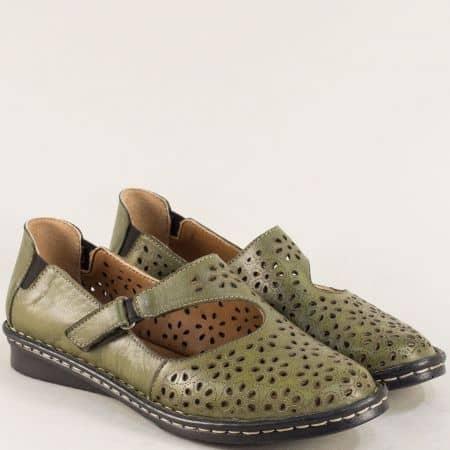 Зелени дамски обувки с перфорация на шито ходило mm100z