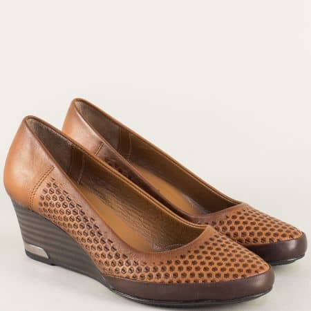Дамски обувки на клин ходило в кафяво и тъмно кафяво m10kk