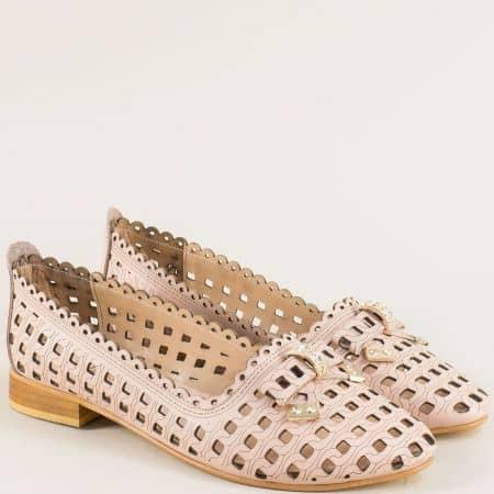 Розови дамски обувки от естествена кожа с перфорация mm116rz