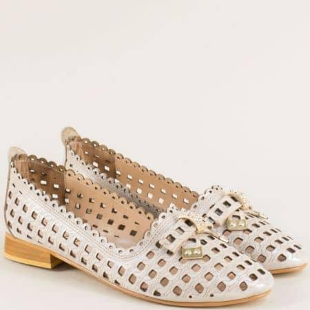 Равни дамски обувки от сатен и естествена кожа в сиво mm116ssv