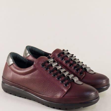 Дамски обувки с връзки от естествена кожа в цвят бордо mm1227bd