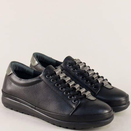 Дамски обувки в черен цвят с връзки и кожена стелка mm1227ch