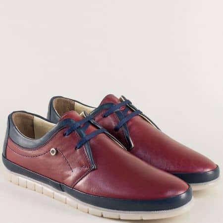 Равни мъжки обувки в цвят бордо с кожена стелка mm203bds